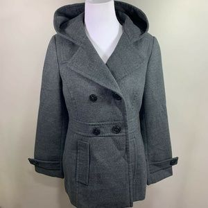 Metaphor Womens Peacoat Grey Buttons Hooded Hip S